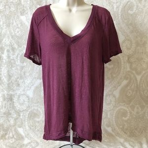 We The Free Purple V Neck Top Short Sleeve Size M